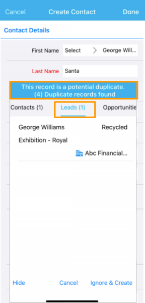 De-duplication rule in Contacts, Customers, Leads, Cases, Cases Extended, and Opportunities app