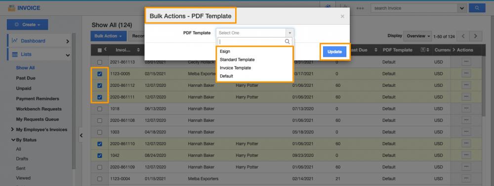 PDF Template Bulk Update in Invoices