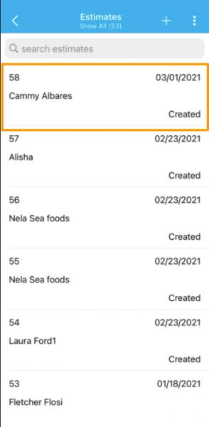 Mobile List Layout in Estimate app