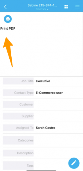 Print PDF in Contacts App