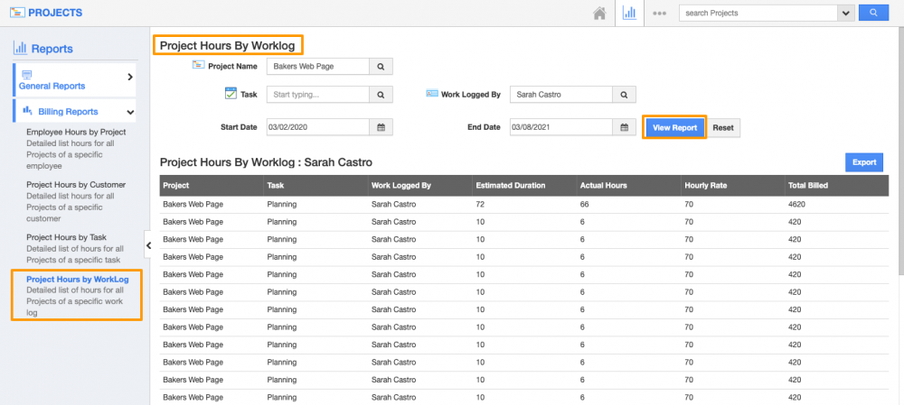 Project Hours by WorkLog Reports in Projects