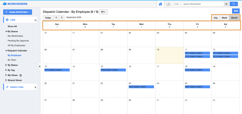 Dispatch Calendar