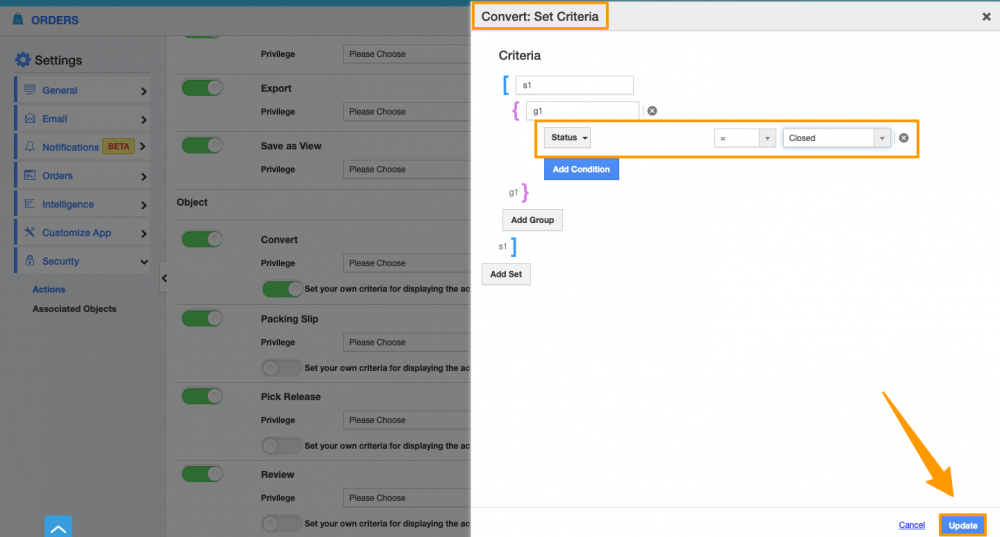 Set Criteria for Convert Action in Orders App