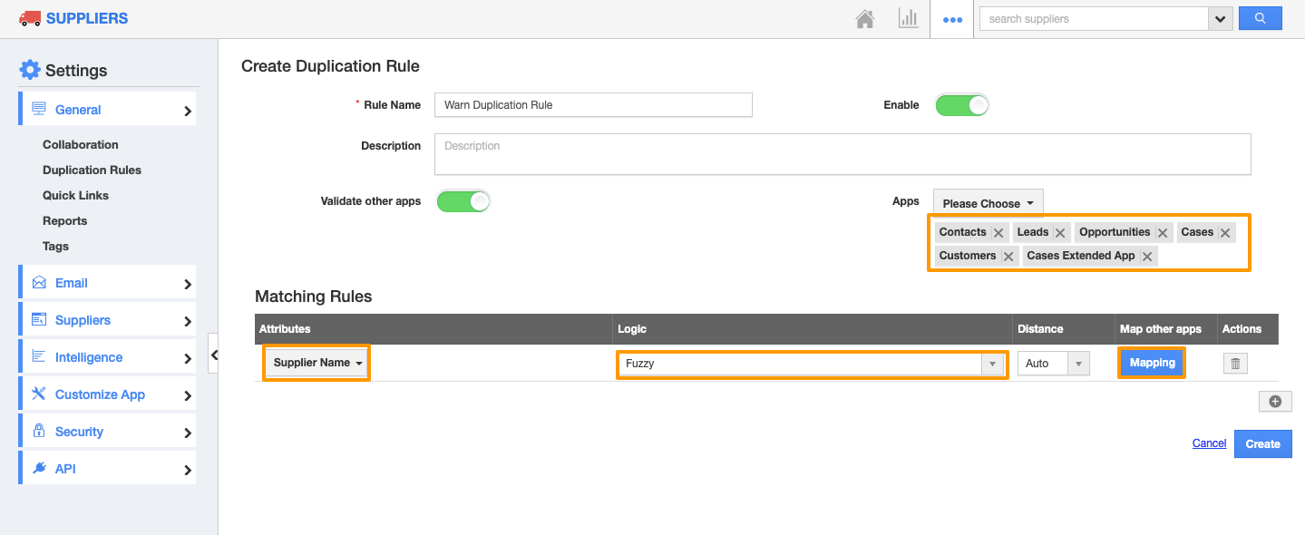 Duplication Rule for Suppliers App