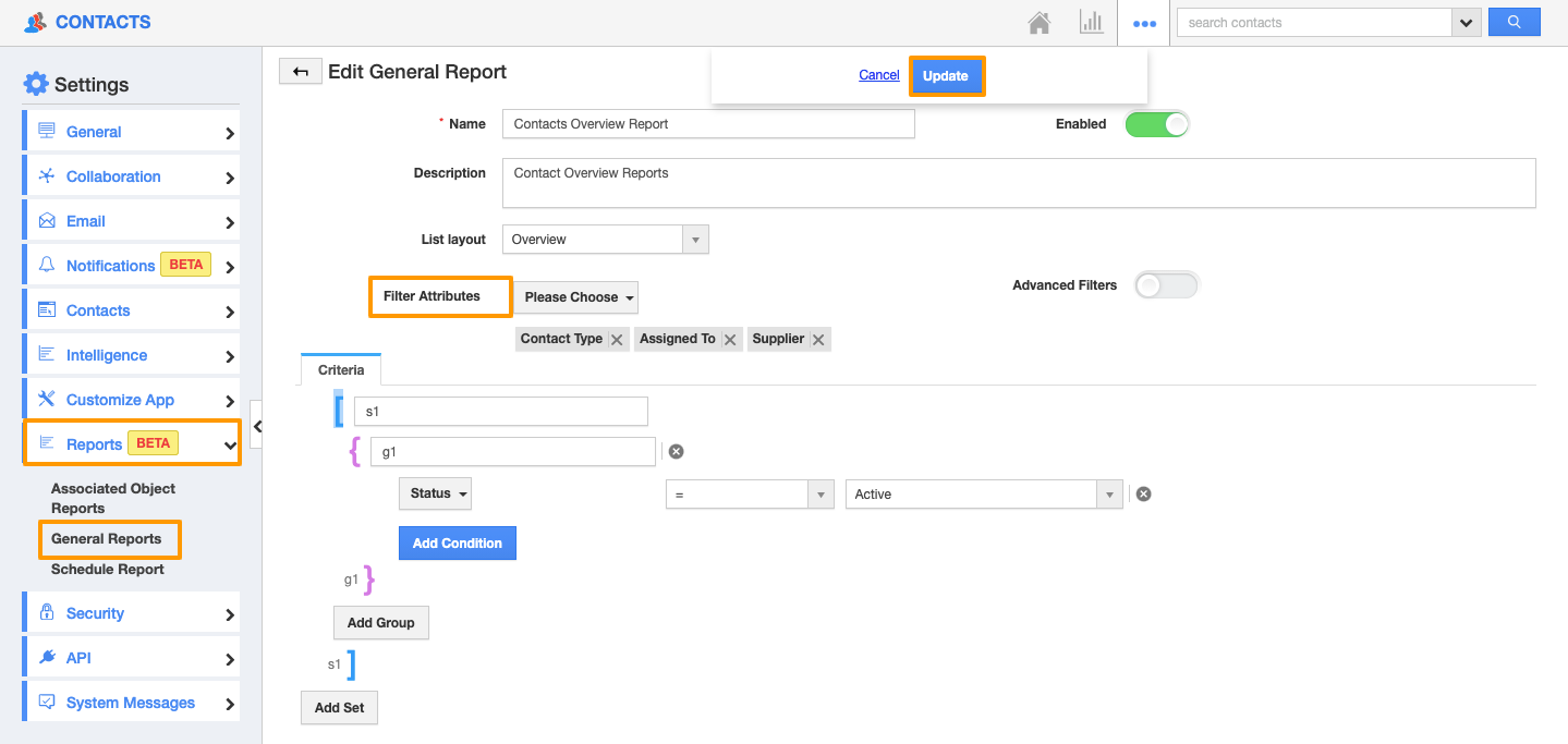 Advanced Filters in General Reports of Contacts App